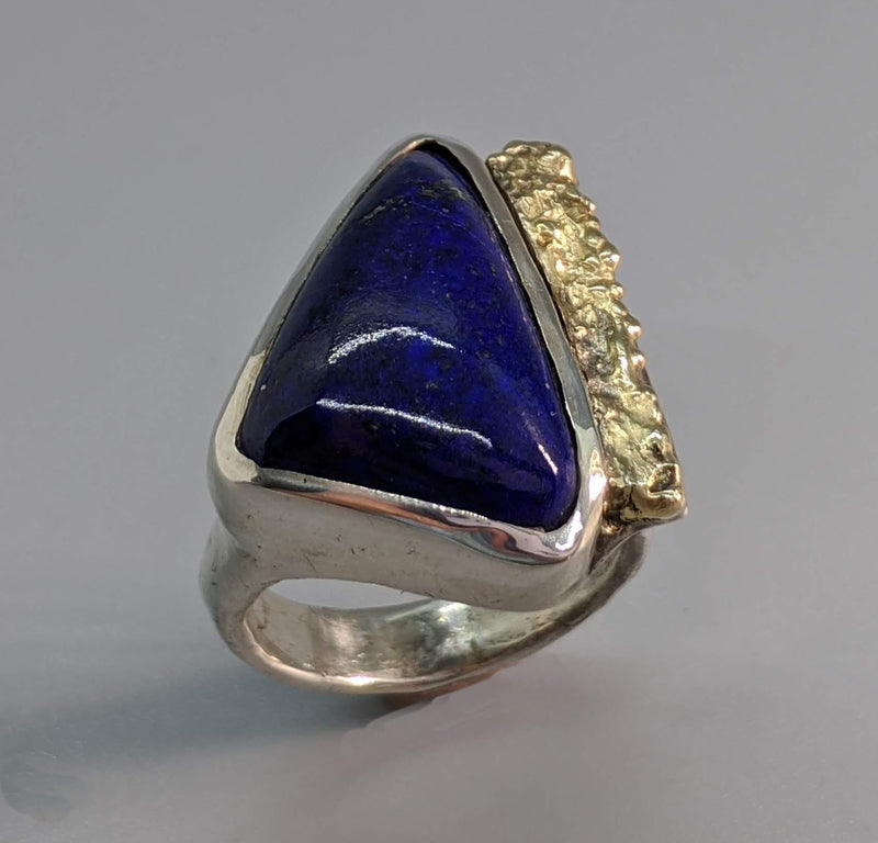 Lapis Sterling Silver Ring with 14kt Gold Strip