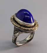 Lapis Sterling Silver Ring with 14kt Gold
