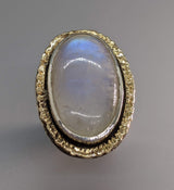 Rainbow Moonstone Sterling Silver Ring with 14kt Gold Rim