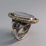 Lavender Chalcedony Sterling Silver Ring with 14kt Gold and Black Diamonds