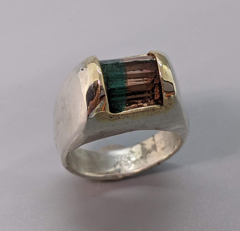 Bi-Color Tourmaline Sterling Silver Ring with 14kt Gold