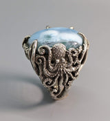 Larimar Sterling Silver Octopus Ring