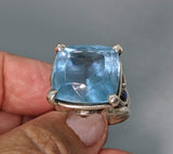 Aquamarine Sterling Silver Ring with Rainbow Moonstones and Spessartite Garnets
