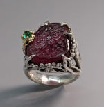 Rough Surface Rubellite Tourmaline Sterling Silver Ring with Emerald and 14kt Gold
