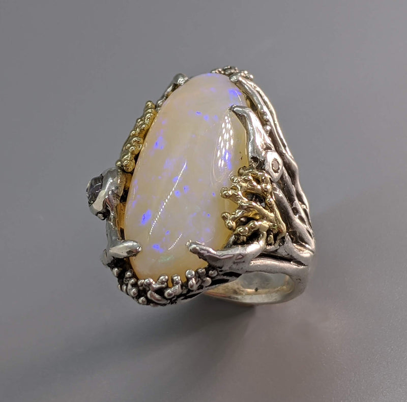 Brazilian Opal Sterling Silver Ring with 14kt Gold, Diamond, Sapphire and Rainbow Moonstone
