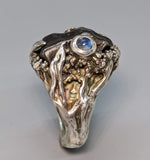 Sikhote Alin Meteorite Ring with Rainbow Moonstone