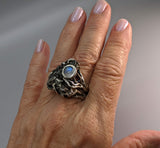 Sikhote Alin Meteorite Sterling Silver Ring with Rainbow Moonstone