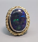 Andamooka Opal, Sterling Silver Ring with 14kt Gold