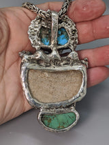 Pre-Pueblo Pottery Shard, Turquoise in Sterling Silver Rattle Snake Pendant with High Karat Gold Studs