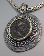 Ancient AE Sestertius, Marcus Aurelius, Sterling Silver Pendant with 14kt Gold