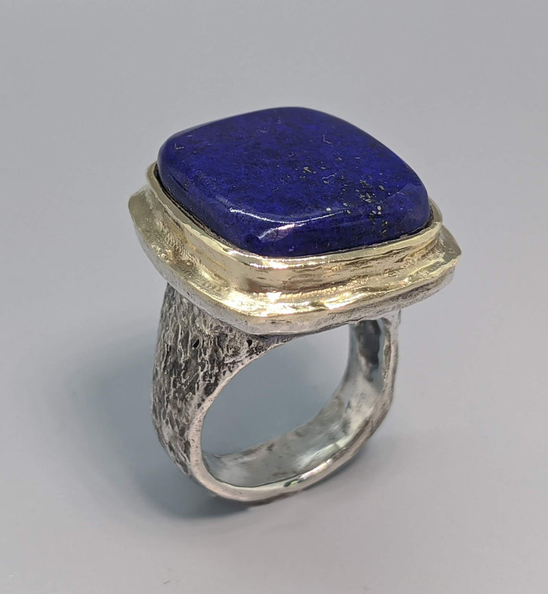 Lapis Sterling Silver Ring with 14kt Gold Bezel