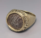 Ancient AR Drachm, Alexander the Great, 14kt Gold Ring