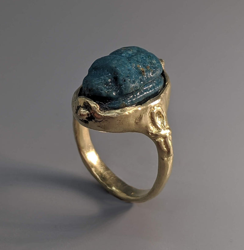 Ancient Egyptian Faience Scarab (525-332 BC) 14 Kt Gold Ring