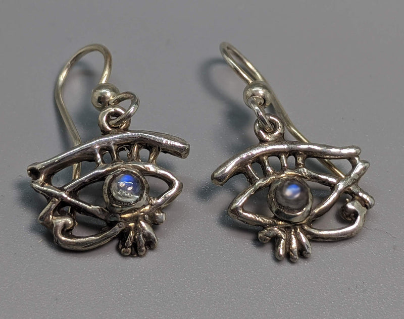 Sterling Silver Small Eye of Horus (Wadjet) Earrings with Rainbow Moonstones