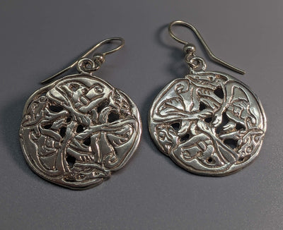 Sterling Silver Hounds of CuCuhlain Celtic Earrings