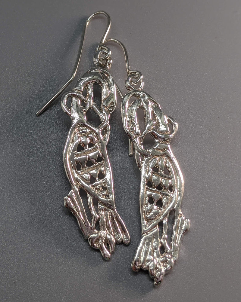 Sterling Silver Celtic Cormorant Earrings, Medium