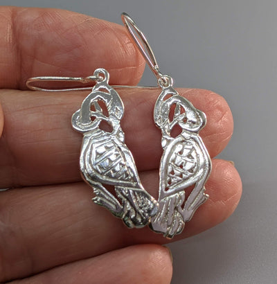 Sterling Silver Small Celtic Cormorant Earrings