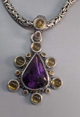 Sugilite Sterling Silver Pendant with Citrines