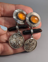 Rose Cut Spessartite Garnets Sterling Silver Earrings with Black Coral and Mokume Gane