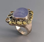 Lavender Chalcedony Sterling Silver Ring with Natural Gold Nuggets and Spessartite Garnets