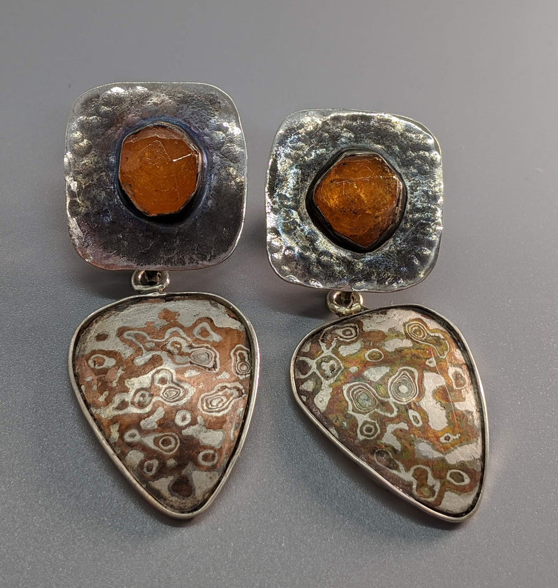 Spessartite Garnet Crystals Sterling Silver Earring Tops with Mokume Gane Drops