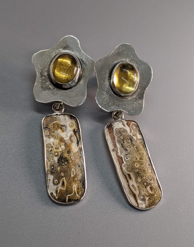 Citrine Sterling Silver Earring Tops with Mokume Gane Drops