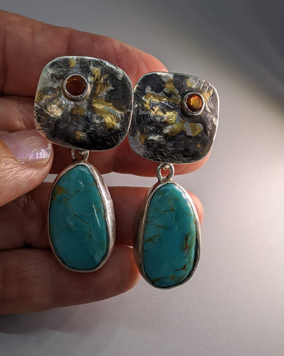 Keum Boo Earring Tops with Spessartite Garnets and Turquoise Sterling Silver Drops