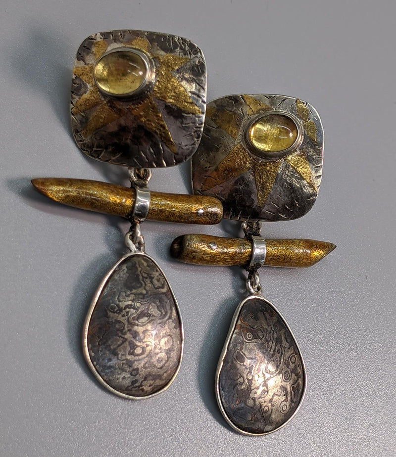 Keum Boo Earring Tops with Citrines and Mokume Gane and Gold Coral Drops