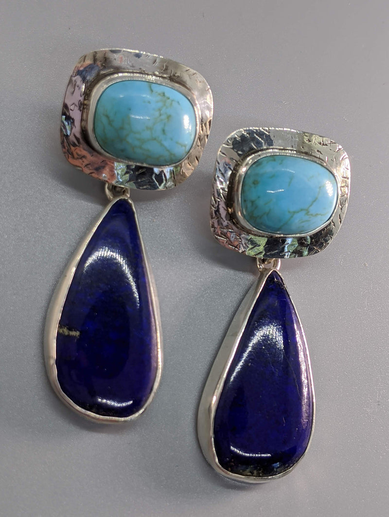 Turquoise Sterling Silver Earring Tops with Lapis Silver Drops