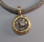 Pegasus, AR Drachm, 14kt Gold Pendant with Rose Cut Diamond