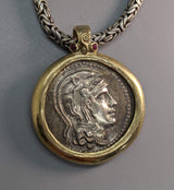 New Style Athena AR Tetradrachm, 14kt Gold Pendant with Rubies