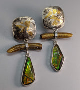 Keum Boo Earring Tops with Ammolite and Gold Coral Drops