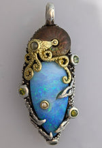 Yowah Opal and Ammonite Fossil, Sterling Silver and 14kt Gold Pendant