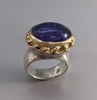 Tanzanite Cabochon in Sterling Silver Ring with 14kt Gold Bezel