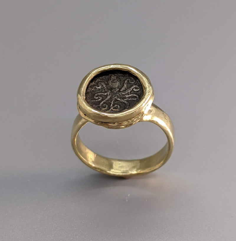 Ancient Coin, AR Litra, Octopus, 14kt Gold Ring