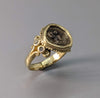 Athena, Ancient AR Obol, 14kt Gold Ring with 2 Diamonds