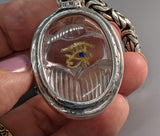 Carved Quartz Crystal Scarab with Eye of Horus and 14kt Gold Ankh on Bail
