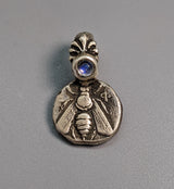 Sterling Silver Ancient Coin Replica, Small Ephesus Bee with Rainbow Moonstone