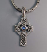 Small Sterling Silver Celtic Cross with Rainbow Moonstone