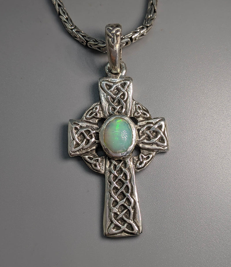 Sterling Silver Celtic Cross with Ethiopian Opal