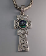 Large Sterling Silver Celtic Fahan Mura Cross with Azurite/Malachite