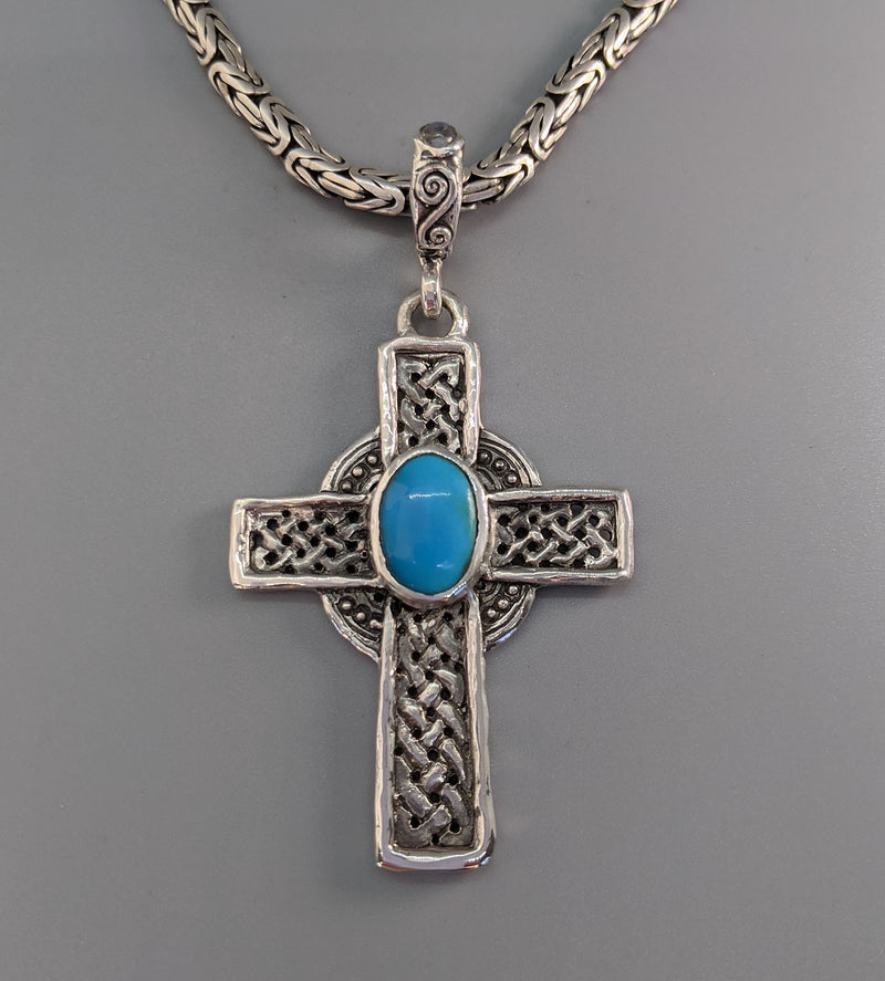 Sterling Silver Celtic Cross with Sleeping Beauty Turquoise