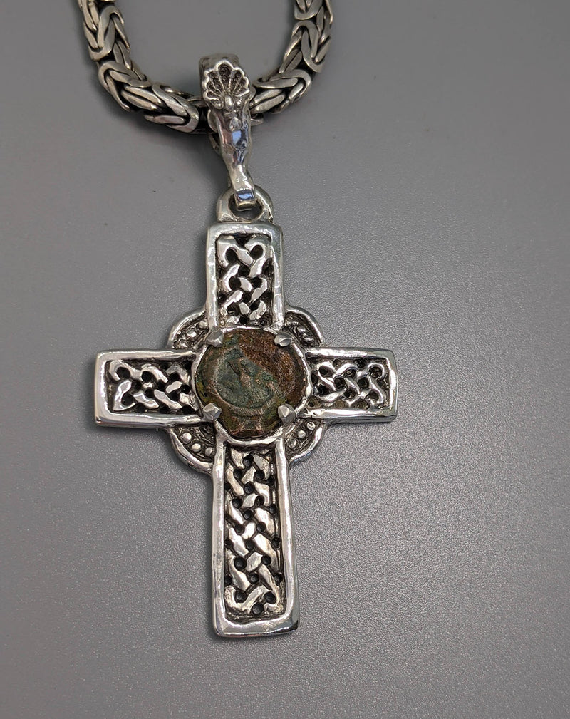 Sterling Silver Celtic Cross with Widow's Mite