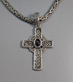 Small Sterling Silver Celtic Cross with Garnet