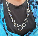 Sterling Silver Link Chain with Large Dark Freshwater Pearls
