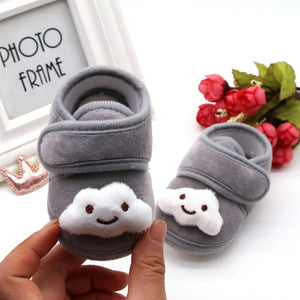 Baby First Walker Shoes Cartoon Print Anti-Slip Cotton Plush Warm Shoes for Winter