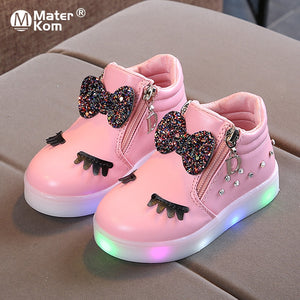 Children Glowing Sneakers LED Shoes for Girls Size 21-30