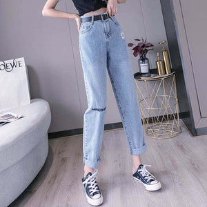 High-waisted Blue Denim Jeans For Women