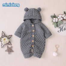 Load image into Gallery viewer, Baby Hooded Bear Ear Knitted Romper for Babies Outfit 6M-24M