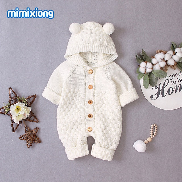 Baby Hooded Bear Ear Knitted Romper for Babies Outfit 6M-24M